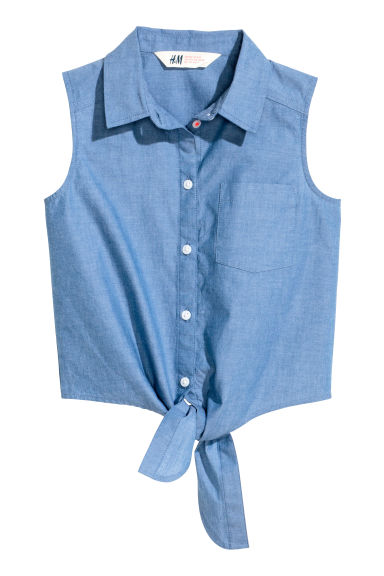 Generous fit Tie-front blouse - Blue - Kids | H&M 1