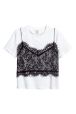 T-shirt with a lace cami - White/Black - Ladies | H&M GB 2