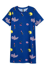 T-shirt dress - Dark blue/Patterned - Ladies | H&M CN 2