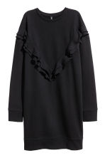 Sweatshirt dress with a frill - Black - Ladies | H&M CN 2