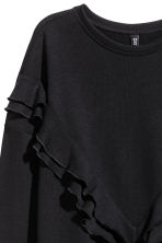Sweatshirt dress with a frill - Black - Ladies | H&M CN 3