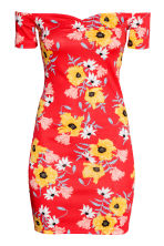 Off-the-shoulder dress - Red/Floral - Ladies | H&M CN 2