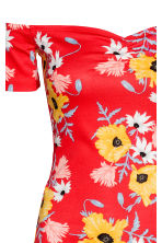 Off-the-shoulder dress - Red/Floral - Ladies | H&M CN 3