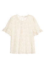 Top in pizzo e volant - Bianco naturale -  | H&M IT 2