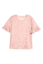 Flounce-sleeved lace blouse - Powder pink - Ladies | H&M CN 2