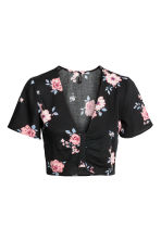 Cropped top - Black/Floral - Ladies | H&M 2
