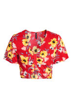 Cropped top - Red/Floral - Ladies | H&M CA 2
