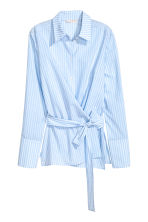 Cotton wrapover shirt - Light blue/Striped - Ladies | H&M 2