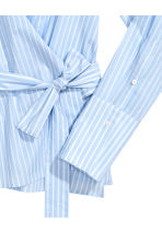 Cotton wrapover shirt - Light blue/Striped - Ladies | H&M 3