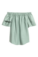 Off-the-shoulder blouse - Mint green - Ladies | H&M 2