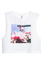 Cropped vest top - White/Floral - Ladies | H&M CN 2