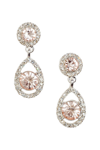 Sparkly earrings - 银色/粉红色 - Ladies | H&M CN 1