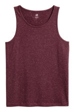 Cotton jersey vest top - Burgundy/Nepped - Men | H&M 2