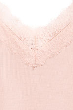 Ribbed strappy top - Powder pink - Ladies | H&M CN 3