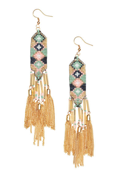 Long earrings - Green/Gold - Ladies | H&M 1