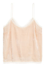 Velvet top - Light beige - Ladies | H&M 2