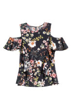Cold shoulder flounced blouse - Black/Floral -  | H&M 2