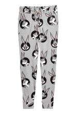 Patterned jersey joggers - Grey/Looney Tunes - Ladies | H&M 1