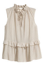 Sleeveless frilled blouse - Light beige/Pattern - Ladies | H&M CN 2