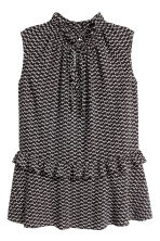 Sleeveless frilled blouse - Black/Patterned - Ladies | H&M 2