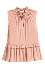 Sleeveless frilled blouse - Powder pink - Ladies | H&M 2