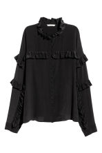Silk frilled blouse - Black - Ladies | H&M 2