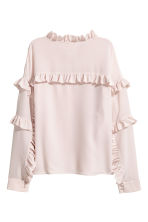 Silk frilled blouse - Light pink -  | H&M 3