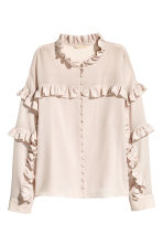 Silk frilled blouse - Light pink -  | H&M 2