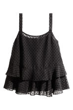 Flounced chiffon strappy top - Black - Ladies | H&M CA 2
