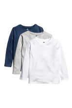 3-pack long-sleeved T-shirts - Dark blue -  | H&M CN 2
