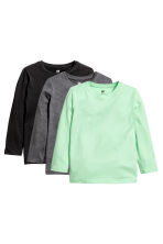3-pack long-sleeved T-shirts - Mint green -  | H&M 2