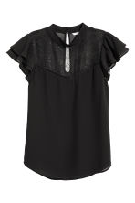 Blouse with a lace yoke - Black - Ladies | H&M 2