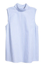 Sleeveless blouse - Light blue/White striped - Ladies | H&M 1