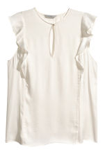 Sleeveless frilled blouse - Natural white - Ladies | H&M 2