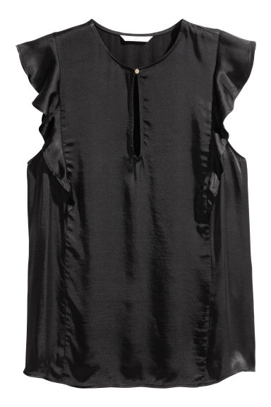 Sleeveless frilled blouse - Black -  | H&M CN