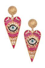 Heart-shaped earrings - Gold/Pink - Ladies | H&M CN 1