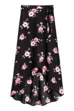 Long wrapover skirt - Black/Floral - Ladies | H&M 2