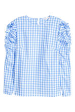 Frilled blouse - Light blue/Checked -  | H&M CN 2