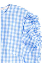 Frilled blouse - Light blue/Checked -  | H&M CN 4