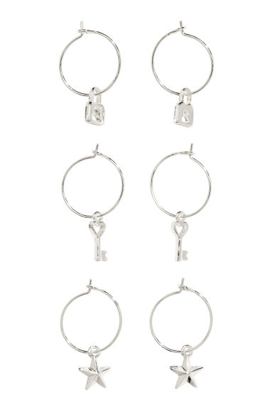 3 pairs hoop earrings - Silver - Ladies | H&M 1