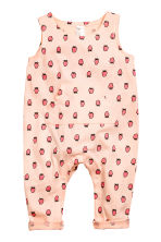 Sleeveless jersey romper - Powder pink/Strawberries - Kids | H&M 1