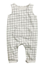 Sleeveless jersey romper - Grey/Checked - Kids | H&M CN 1