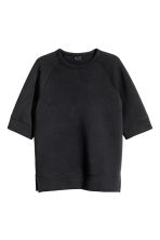 Short-sleeved scuba sweatshirt - Black - Men | H&M 2