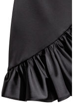 Frilled satin skirt - Black -  | H&M CA 3