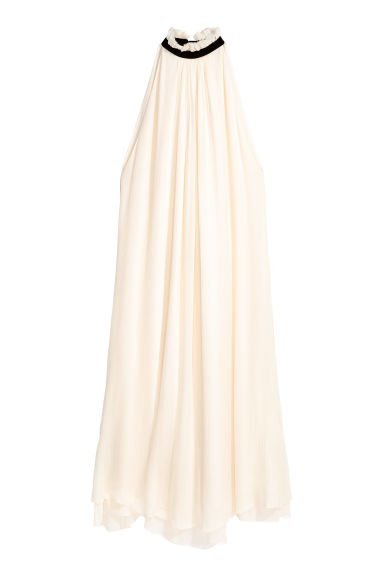 Silk chiffon dress - Natural white - Ladies | H&M CN 1