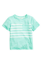 T-shirt with a chest pocket - Mint green marl -  | H&M 2