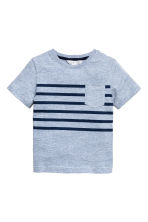 T-shirt with a chest pocket - Blue marl -  | H&M 2
