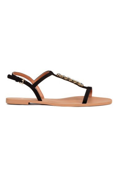 Sandals with sparkly stones - Black - Ladies | H&M 1