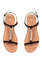 Sandals with sparkly stones - Black - Ladies | H&M 2