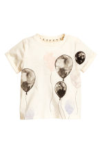 Printed top - Natural white/Ballons - Kids | H&M CN 1